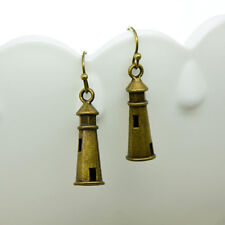 Lighthouse Earrings, Antique Bronze Finish Vintage Style Charm Pendant Earring