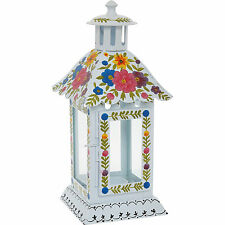 White Summer Floral Painted Shabby Chic Bohemian Lantern Candle Holder Glass