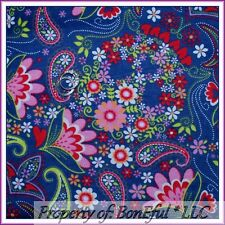 BonEful Fabric FQ Cotton Quilt Flannel Navy Blue Pink L Paisley Flower Red Heart