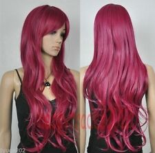 NEW Rose Red long curly cosplay Full Wig + wip cap  AO:4