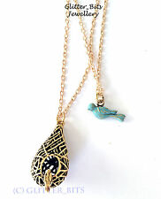 THE VAMPIRE DIARIES ORIGINALS ELENA GILBERT BLUE BIRD CAGE NECKLACE PENDANT
