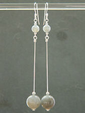 Grey Labradorite Gemstones & 925 Sterling Silver Long Elegant Handmade Earrings