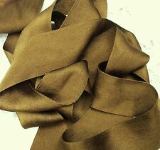 """100% PURE SILK SATIN RIBBON  1 1/2"""" WIDE~ANT/ GOLD~ COLOR~ 3YDS ~ FINAL LOTS~"""