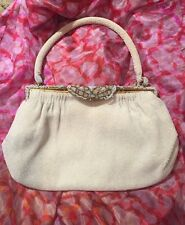 Vintage Gold & Sparkly White Beaded Evening Purse Hand Made in France by Walborg