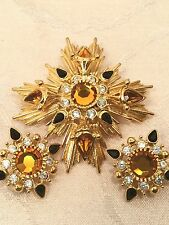 Joan Rivers Florenza Inspired Starburst Maltese Cross Brooch Pin Earrings Set