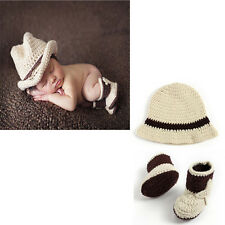 Newborn Baby Hand Crochet Knitted Cowboy Hat Shoes Costume Photo Props Outfit