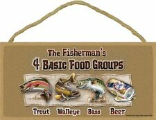 Novelty-Fun Wood Sign-Fishing Plaque-Fisherman's 4 Basic Food Groups-Freshwater