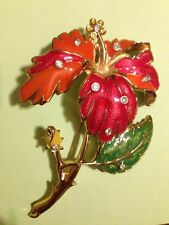 Vintage Jose Barrera Avon Huge Enameled Hibiscus Flower Brooch/Pin ~Stunning~