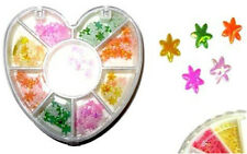 NEW NAIL ART STICKERS DECORATION METALLIC FLOWER STARS IN HEART SHAPE TUB 263 EM