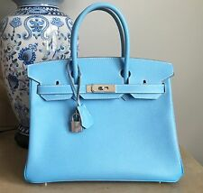 Authentic Hermes Celeste Mykonos Blue Candy Birkin Bag Epsom Leather 30cm PHW