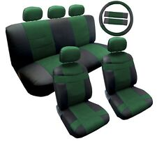 14pc PU Leather Seat Covers 5 Headrests Steering Wheel Cover Black and Green