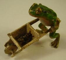 Antike seltene Wiener Bronze Frosch mit Schubkarre und Ameise vor 1945