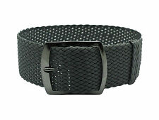 HNS 22MM Dark Grey Perlon Tropic Braided Woven Watch Strap Adjustable PVD Buckle