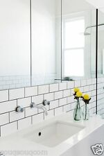 NEW YORK GLOSS WHITE FLAT METRO VICTORIAN SUBWAY BRICK WALL TILES 10 X 20CM