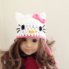 "18"" doll hat / Hello Kitty beanie fits American girl doll or bitty baby"
