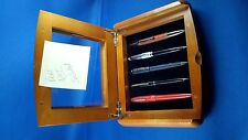 Wooden pen holder display box holds 5 Pens glass top
