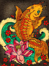 "3.25"" Detailed Japanese Koi Fish & lotus flower Art Print STICKER. Aquarium pond"