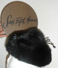 Vintage Saks Fifth Avenue New York Real Mink Fur Hat with Foot & Box