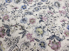 "Ivory ""Crease Effect"" Jacquard Summer Floral Printed 100% Cotton Lawn Fabric"