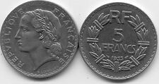 PIECE MONNAIE FRANCE 5 frs LAVRILLIER NICKEL 1933