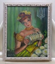 Estate Found Freida Shulda Vintage Woman in Yellow Dress Portrait Oil Painting