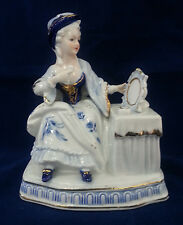 Vintage Blue and White Porcelain Lady Powders her Nose
