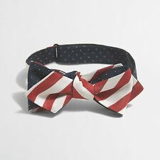 J Crew Factory - NWT - Red, White, & Blue American Flag Adjustable Silk Bow Tie