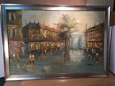 Vintage Devity-Style Oil Canvas Painting of Paris Cityscape Signed by Artist