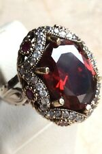 TURKISH HANDMADE RUBY STERLING SILVER 925K AND BRONZ RING SIZE 7,8,9