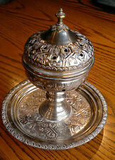 Antique Eastern Turkish Ottoman? Silver Plate Incense Burner Candelstick