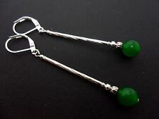 A PAIR OF SILVER PLATED GREEN JADE  BEAD LONG DANGLY  LEVERBACK EARRINGS. NEW.