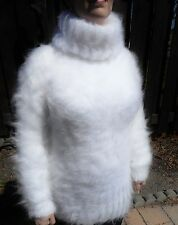 Extra Tall TURTLENECK 80% Mohair Sweater! Furry Fuzzy! XL WHITE Fetish
