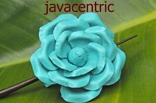 Handmade leather ROSE Hair Pin Barrette Clip Clasp Slide FLOWER painted new BLUE