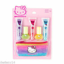 Girls Hello Kitty 6 Piece Cosmetic Set Lip Gloss Glitter Case Purse Gift Makeup