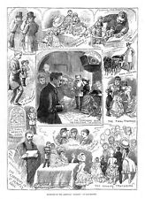 MANCHESTER Marriage of the American Midgets at St James Hall- Antique Print 1884