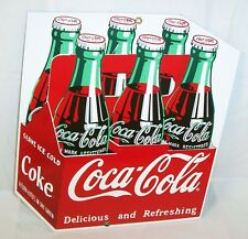 NEW 1993 ANDE ROONEY COCA COLA DIE CUT 6 BOTTLE PACK CARTON PORCELAIN SIGN