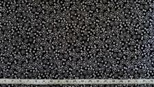 BLACK AND WHITE FLORAL FRANGIPANI FLOWERS COTTON QUILT FABRIC