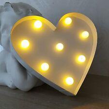 Corazón Blanco Colgante De Pared Led corazón Placa signo Rústico envejecido Estilo