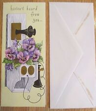 VINTAGE 1940's ANTIQUE PHONE AFRICAN VIOLETS MISS YOU DROP A LINE CARD NOS USA