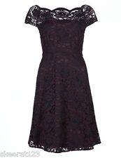 New M&S Burgundy Black Floral Skater Lace Party Dress VTG Size 8 R