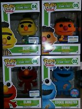 Funko Pop Sesame Street Flocked Set - Ernie, Bert, Elmo, & Cookie Monster