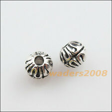 25 New Charms Tibetan Silver Flower Round Ball Spacer Beads 6mm