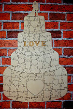 Plain Large Wooden Wedding Guest Book Cake Puzzle 105 pc Jigsaw Amazing Love