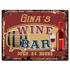 PWWB0213 GINA'S WINE BAR OPEN 24Hr Rustic Tin Chic Sign Home Decor Gift