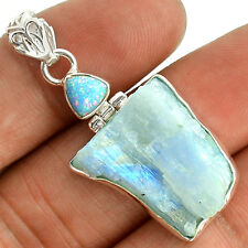 Rainbow Moonstone Rough 925 Sterling Silver Pendant Jewelry SP216657