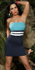 NEW SEXY STRAPLESS MINI DRESS WITH DUO SASH PARTY/CLUB/CASUAL BLUE SZ XL AU 14
