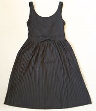 Gray Baby Doll Retro Dress 4 XS A-Line Pleated Skirt Bow Sleeveless H&M Divided
