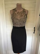 KAREN MILLEN RARE TAUPE CUTWORK LACE & BLACK DRESS SIZE 14 BRAND NEW