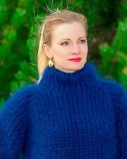 SUPERTANYA Hand Knitted Mohair Sweater Ribbed Turtleneck BLUE Mens Polo Jumper