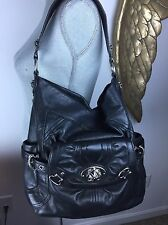 B. Makowsky Black Leather Silver Shoulder Bag Purse Extra Large
